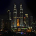 Petronas Twin Towers in Malaysia. Photo taken at night.