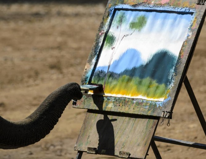 Painting from Thai Elephant Conservation Center