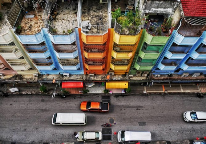 colorful buildings in Hat Yai town